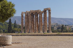 Ancient Greek temple of Olympian Zeus Stock Photos