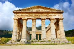 Ancient Greek Temple of Segesta, Sicily, Italy. Segesta or Egesta, located in the north-west corner of Sicily, was an important trading town from the 7th century Stock Photography
