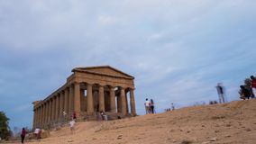 Ancient Greek temple at sunset stock video footage