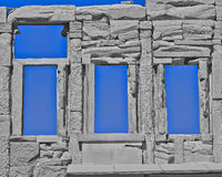 Ancient Greek temple wall and windows Stock Photos