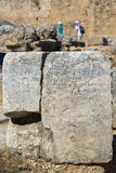 Ancient Greek Text on Lindos Acropolis Stones Royalty Free Stock Images