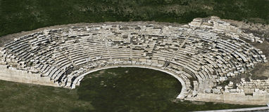 Ancient Greek theater, aerial. Royalty Free Stock Photos