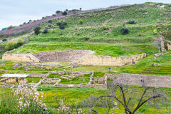 Ancient greek theater and agora in Morgantina Stock Photo