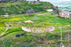 Ancient greek theater in Morgantina area, Sicily Stock Image