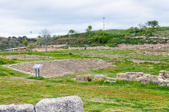 Ancient greek theater in Morgantina ruins, Sicily Stock Images