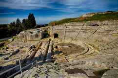 Ancient Greek theater in Syracuse Neapolis, Sicily, Italy Stock Photos