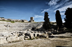Ancient Greek theater in Syracuse Neapolis, Sicily, Italy Royalty Free Stock Photo