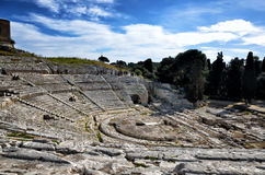 Ancient Greek theater in Syracuse Neapolis, Sicily, Italy Stock Image