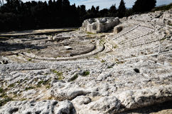 Ancient Greek theater in Syracuse Neapolis, Sicily, Italy Royalty Free Stock Photos
