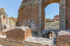 Ancient Greek theater of Taormina city at Sicily Royalty Free Stock Image