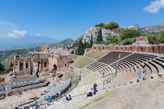 Ancient Greek Theater in Taormina at the island Sicily, Italy Royalty Free Stock Photography