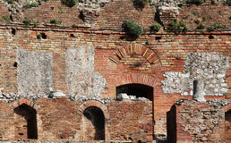 Ancient greek theater of taormina, the ruins Stock Photography