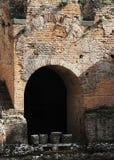 Ancient greek theater of taormina, the ruins Stock Photos
