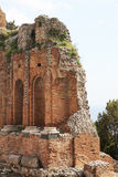 Ancient greek theater of taormina, the ruins Stock Image