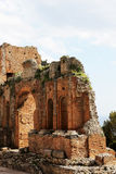 Ancient greek theater of taormina, the ruins Stock Images