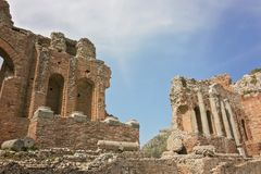 Ancient Greek Theater of Taormina, Sicily, Italy. April 17, 2018 royalty free stock images
