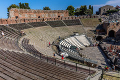Ancient Greek Theater in Taormina, Sicily Stock Photos