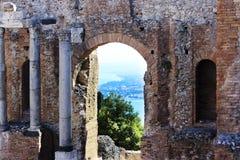 Ancient Greek Theater in Taormina Stock Photo