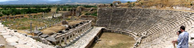 Ancient Greek theatre. Extremely wide shot of an ancient Greek theatre in the city of Aphrodisias, Turkey Stock Photo