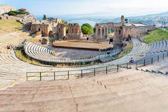 Ancient Greek Theatre in Taormina city Royalty Free Stock Photo