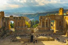 Ancient Greek theatre in Taormina, Sicily stock photo