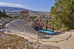 Ancient Greek theatre under Acropolis of Athens Royalty Free Stock Images