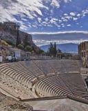 Ancient Greek theatre under Parthenon temple Stock Image