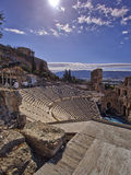 Ancient Greek theatre under Parthenon temple Royalty Free Stock Photography