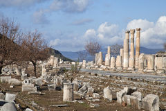 Ancient greek town of Ephesus in Turkey Royalty Free Stock Photos