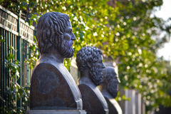 Ancient Greek tragedians. Busts of the three ancient Greek tragedians, Aeschylus, Euripides and Sophocles Royalty Free Stock Photos