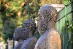 Ancient Greek tragedians. Busts of the three ancient Greek tragedians, Aeschylus, Euripides and Sophocles Royalty Free Stock Images