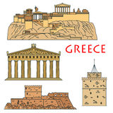 Ancient greek travel landmarks thin line icons Royalty Free Stock Images