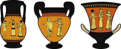 Ancient Greek utensil three vases. Set of Ancient Greek utensil decorated with human figures in dramatic poses Stock Photography
