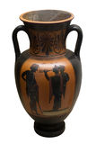 Ancient greek vase in black over red ceramic Royalty Free Stock Images