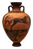 Ancient greek vase depicting a chariot. Isolated on white with clipping path Stock Image