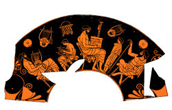Ancient Greek vase, music school lesson. Ancient Greek vase depicting a school lesson of music Stock Photo