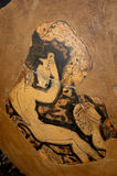 Ancient Greek vase, original, detail. Restoration of an ancient Greek pottery,with humans figures stock photography