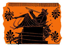 Ancient Greek vase painting, flute player Stock Images