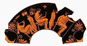 Ancient Greek vase, school lesson, writing and music. Ancient Greek vase depicting a school lesson with  pupil playing flute and student writng on a tablet Stock Image