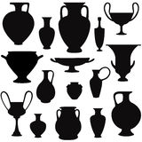 Ancient greek vase silhouette  set. Interior decor Stock Photography