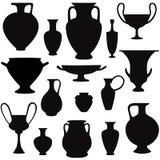 Ancient greek vase silhouette  set. Interior decor. Ancient greek vase set. Vector icon collection Stock Photography