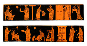 Ancient Greek vases with domestic scenes. Ancient Greek vases depicting life and lifestyle of Greek women at home, isolated on white Stock Photography