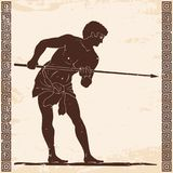Ancient Greek warrior. Ancient Greek warrior with a spear in his hands is preparing for battle. Old beige paper with national ornament and the aging effect Royalty Free Stock Photo