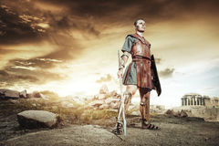 Ancient Greek warrior Hector posing in combat Stock Photos