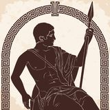 Ancient Greek Warrior. Ancient Greek warrior is sitting with a spear in his hand. Vector illustration on beige background vector illustration