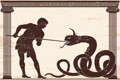 Ancient Greek warrior. Ancient Greek warrior with a spear in his hands is kills a big snake. Old beige paper with national ornament and the aging effect Stock Images