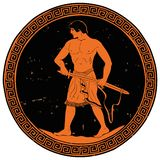 Ancient Greek Warrior. Ancient Greek warrior with a sword in his hands is ready to attack. Vector illustration of a round medallion isolated on white background vector illustration