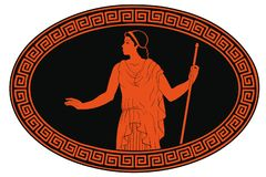 Ancient Greek woman. An ancient Greek woman in a tunic with a rod in her hand is standing. Vector oval medallion isolated on white background stock illustration