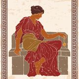 Ancient Greek woman. An ancient Greek woman in a tunic sits and holds a jewelry in her hand. Vector illustration on a beige background with the aging effect royalty free illustration