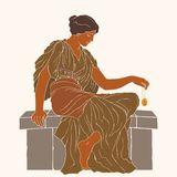 Ancient Greek woman. An ancient Greek woman in a tunic sits and holds a jewelry in her hand. Vector illustration isolated on beige background royalty free illustration